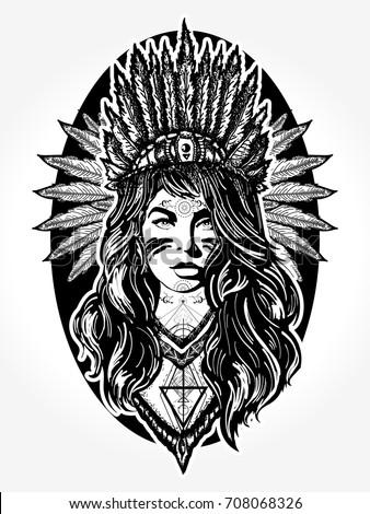 Stock Photo Native American woman tattoo art. Ethnic girl warrior