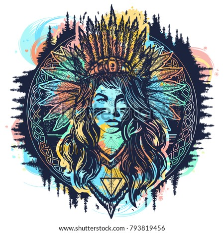 Native American woman tattoo art. Ethnic girl warrior. Young woman in costume of american indian vector ethnic art and t-shirt design