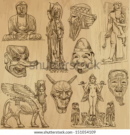 Native and Old Art around the World (set no.5). Collection of hand drawn illustrations (originals, no tracing). Each drawing comprise of two layers of outlines, colored background is isolated.