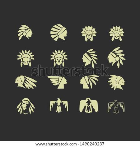 native apache indian set logo icon designs vector illustration template
