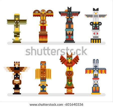 native totem tower vector illustration flat design