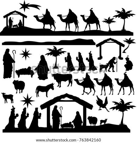 Nativity scene Famous Elements Holidays Christmas Holly Night Silhouette Set
