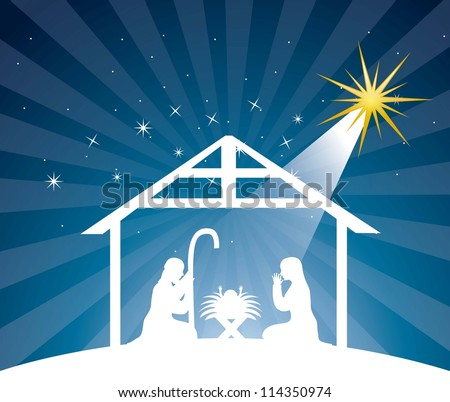 nativity scene over night background. vector illustration