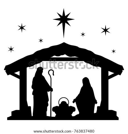 Nativity Scene Silhouette Holiday Holly Night Christmas