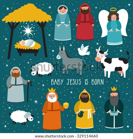 Nativity scene. Vector set of cute people, animals. Holiday background with text \
