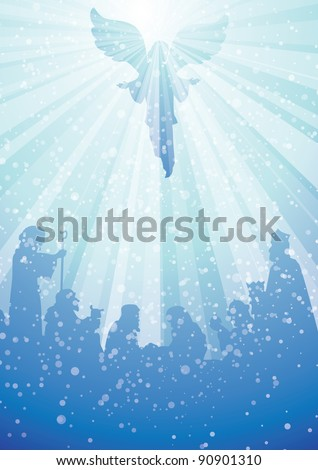 nativity scene with angel in heavenly light above baby jesus