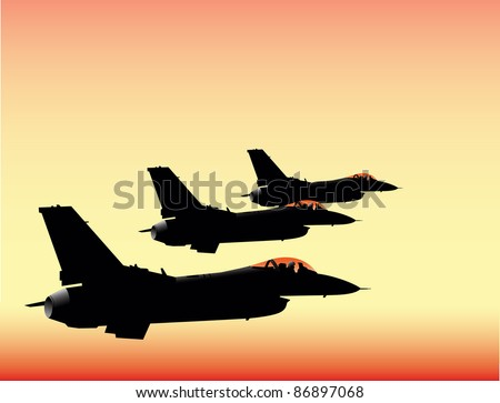 NATO fighter jets in sunset flying in formation vector image