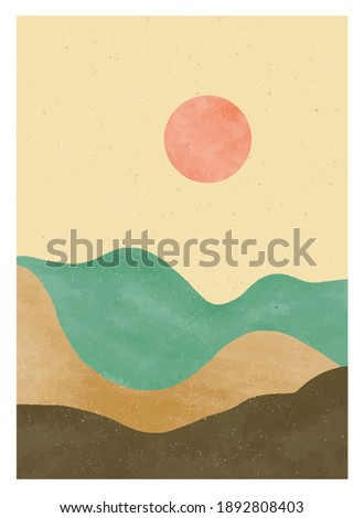 Natural abstract mountain, forest, hill and sun on set. Mid century modern minimalist art print. Abstract contemporary aesthetic backgrounds landscape. vector illustrations