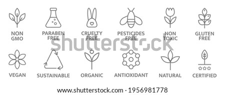 Natural and organic cosmetic line icons. Allergen free badges. Non toxic logo. Skincare symbol. Beauty product. Gluten and paraben free cosmetic. Eco, vegan label. Sensitive skin. Vector illustration.