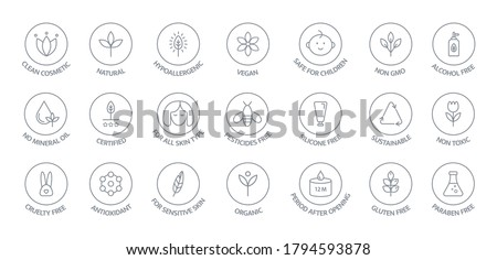 Natural and organic cosmetic line icons big set. GMO free emblems. Organic products badges. Hypoallergenic, safe for children, clean cosmetic, non toxic. Vegan, bio food. Vector illustration.
