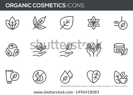 Natural and organic cosmetics vector line icons set. Skincare, no synthetic fragrance and colors, no animal testing. Editable stroke. Perfect pixel icons, such can be scaled to 24, 48, 96 pixels. Foto d'archivio ©