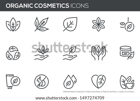 Natural and organic cosmetics vector line icons set. Skincare, no synthetic fragrance and colors, no animal testing. Editable stroke. Perfect pixel icons, such can be scaled to 24, 48, 96 pixels.