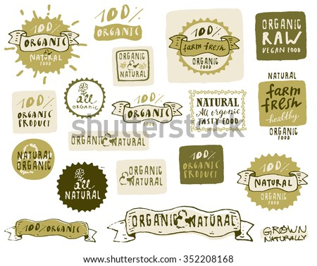 Natural and organic food labels set. Vector fresh healthy food icons, stickers, logos. Vintage badges with frames and ribbons for vegetarian restaurant menu or organic food package in hipster style