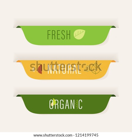 natural and organic label green color. vintage banner and badge design.