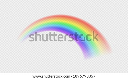 Natural arcuate phenomenon in the sky. Bright realistic arch rainbows and round halo rainbow. Fantasy symbol of good luck. Multicolor circular arc. The symbol of rain, sky, clear, nature. Vector.