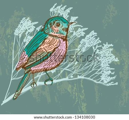 Natural background with bird, retro colors, vector