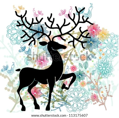 Natural background with deer, flowers and bird, cute illustration, vector