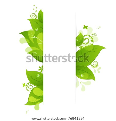 Natural Background With Leaves And Drops, Isolated On White Background, Vector Illustration