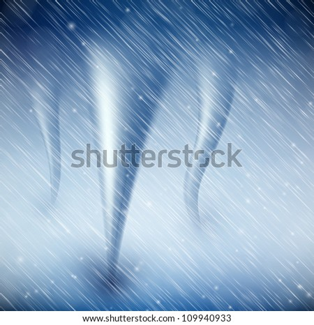 Natural background with tornado and rain. Eps 10
