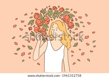 Natural beauty and flowers concept. Young smiling woman model wearing white dress looking at the flowers while standing beside flowers on summer day vector illustration