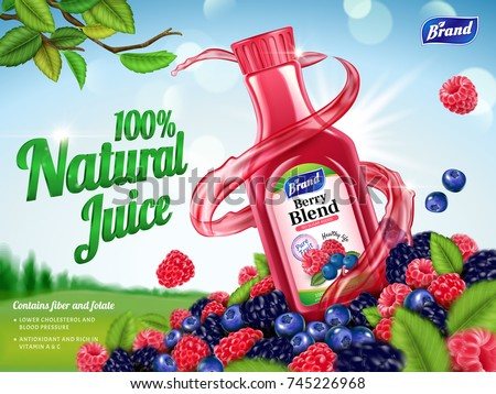 Shutterstock Natural berry blend juice ads, refreshing berries with swirling juice liquid isolated on green field in 3d illustration