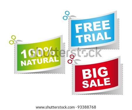 natural, big sale and free trail, vector illustration