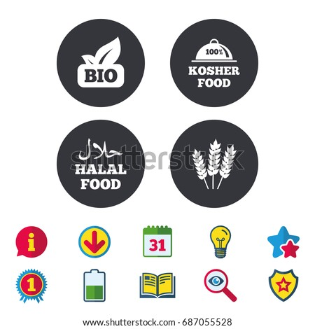 Natural Bio food icons. Halal and 100% Kosher signs. Gluten free agricultural symbol. Calendar, Information and Download signs. Stars, Award and Book icons. Light bulb, Shield and Search. Vector