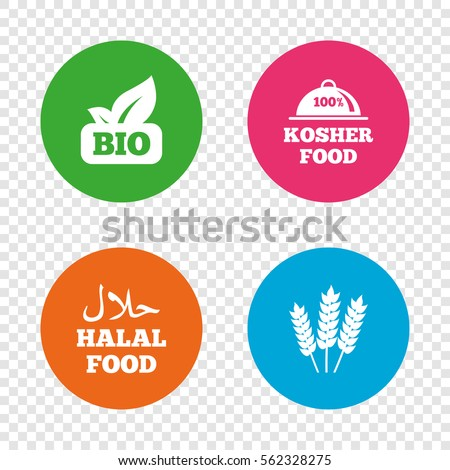 Natural Bio food icons. Halal and 100% Kosher signs. Gluten free agricultural symbol. Round buttons on transparent background. Vector