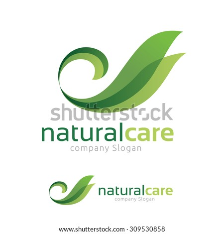 Natural Care logo,Swan and green leaf symbol.