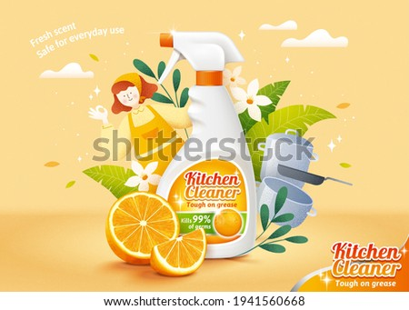 Natural citrus kitchen cleaner ad template design. Realistic spray bottle mock up and fresh orange slices with hand drawn illustrations of housemaid, flowers and kitchen utensils.