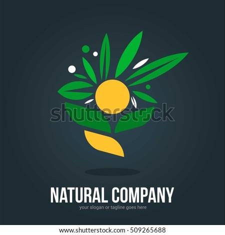 NATURAL COMPANY FLOWER LOGO EMBLEM TEMPLATE SIGN