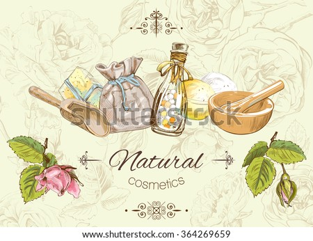 Natural cosmetic banner. Design for cosmetics, make up, store, beauty salon, natural and organic products. Vector illustration