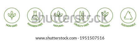 Natural cosmetic icons. Beauty badges. Cruelty free, vegan, bio, paraben free, labels. Skincare logo. GMO free emblems. Organic cosmetic line art stickers. Healthy food. Vector illustration. Foto stock ©