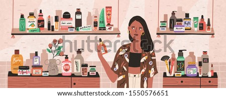 Natural cosmetics, eco products choosing in store flat illustration. Female shop assistant, cosmetic buyer cartoon character. Toiletry assortment. Lady skincare, makeup, beauty products choice.