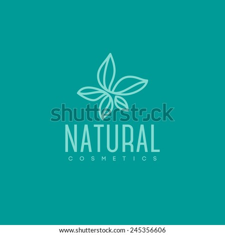 Natural cosmetics logo design vector template. Green leaves icon