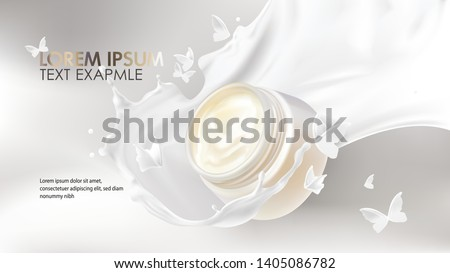 Natural cosmetics realistic vector background. Open jar with organic cosmetic cream falling in milk splash and white liquid flying butterflies silhouettes. Mock up promo banner, concept ad poster
