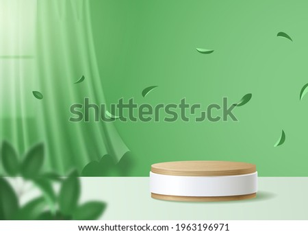 Natural 3d Podium for product display. Wooden Podium in green wall interior with curtains, window, leaves. 3d render vector
