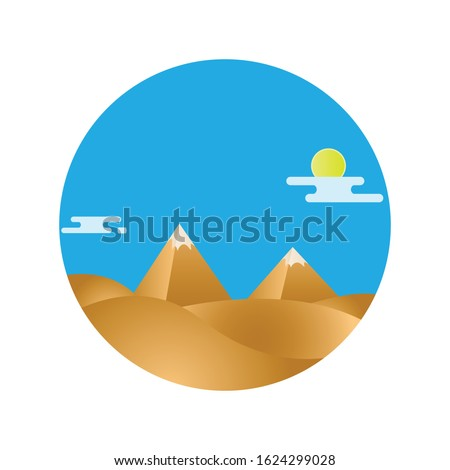 natural desert landscape with a pyramid in the center, Pyramid painting ,vector Illustration.