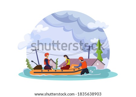 Natural disaster concept. Evacuate flood victims by inflatable boat. Foto stock ©