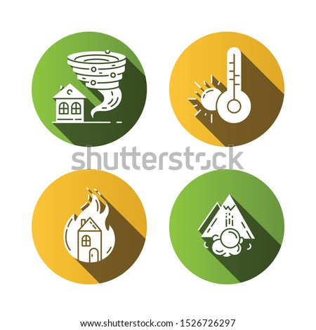 Natural disaster flat design long shadow glyph icons set. Tornado, drought, fire, avalanche. Insurance case. Extreme events. Destructive force of nature. Vector silhouette illustration