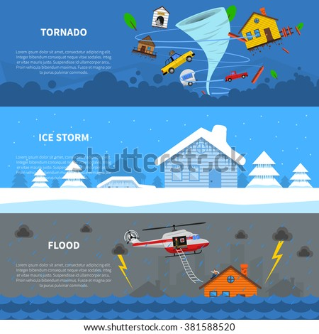 Natural disaster 3 flat horizontal banners set with freezing rain ice storm and tornado abstract isolated vector illustration