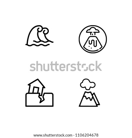 Natural disaster icon set. EPS 10 vector format. Professional pixel perfect black & white icons optimized for both large and small resolutions. Transparent background