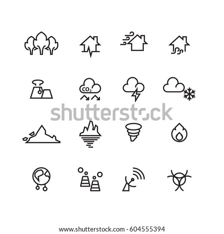 Natural disaster icons set,Vector