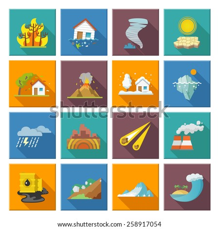 natural disaster icons set with