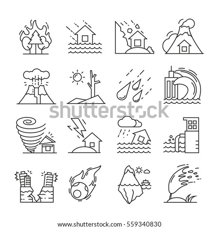 natural disaster icons thin