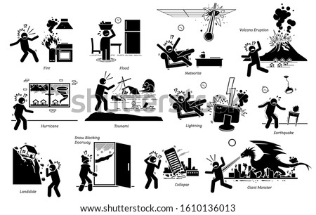 Natural disaster that destroy house and city icons. Vector illustration of fire disaster, flood, meteorite, volcano, hurricane, tsunami, lightning, earthquake, landslide and giant monster attack.
