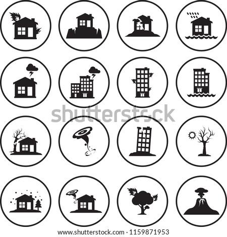 Natural Disaster vector icons set