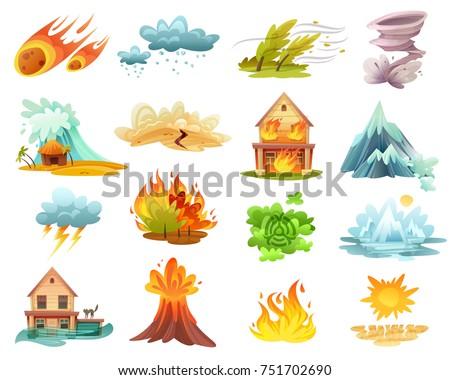 natural disasters cartoon set