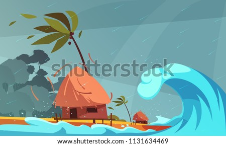 Natural disasters composition with rain and tsunami on ocean front with bungalow and tropical coast background vector illustration