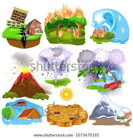 Natural Disasters icons like earthquake, tsunami, hurricane, avalanche, drought, tornado isolated on a white background